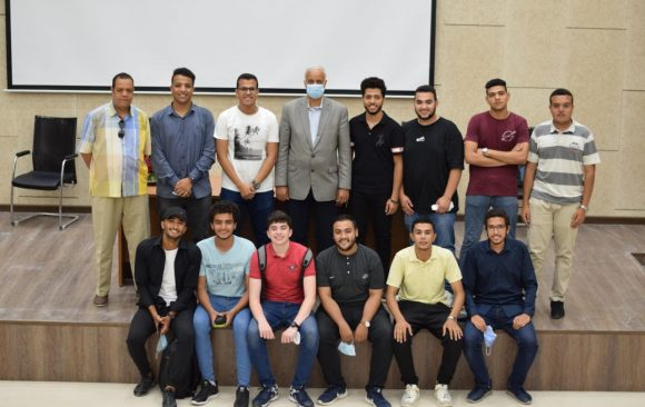 Prof. Dr. Essam ElKordi gives a speech to congratulate the students on the end of the academic year