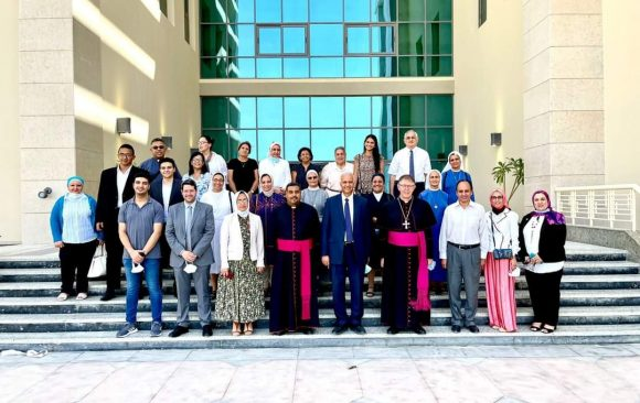 Prof.Dr. Essam Elkordi received his Excellency Bishop Claudio Lurati, Monsignor Antoine Tawfik and their delegation
